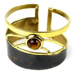 Tiger Eye Rectangle Brass Cuff