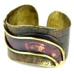 Red Wave Copper and Brass Cuff