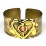 Peach Tiger Eye and Brass Heart Cuff