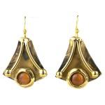 Reborn Peach Tiger Eye Brass Earrings