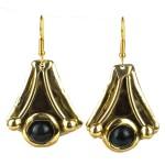 Reborn Blue Tiger Eye Brass Earrings