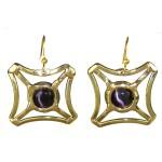 Purple Tiger Eye Square Earrings