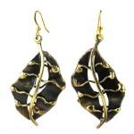 Fall Leaf Brass Earrings