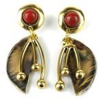 Red Jasper Pod Brass Post Earrings