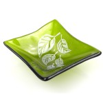 Etched Leaf Small Recycled Green Glass Dish