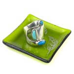 Etched Leaf Recycled Green Glass Ring Tray