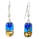 Sand and Sea Design Small Glass Earrings