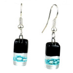 Black Tie Design Small Glass Earrings