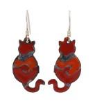 Enamel Cat Earrings- Red