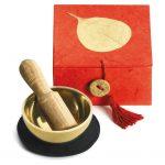 """Mini Meditation Bowl Box: 2"""" Gold Bodhi - DZI (Meditation)"""