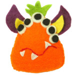 Hand Felted Orange Tooth Monster with Many Eyes - Global Groove