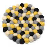 Felt Ball Trivets: Round, Mustard