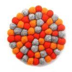 Felt Ball Trivets: Round Chakra, Oranges
