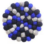 Felt Ball Trivets: Round Chakra, Dark Blues
