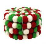 Felt Ball Multicolor Coasters 4pk - White Christmas