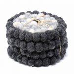 Felt Ball Coasters: 4-pack, Flower Black/Grey