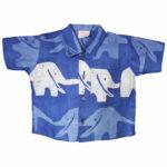Baby Button Down Shirt - Blueberry Elephants - Global Mamas (B)