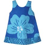 Girls Reversible Dress Giant Flower Teal - Global Mamas (C)