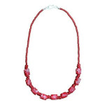 Recycled Glass Marble Necklace in Poppy - Global Mamas