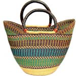 Bolga Tote, Mixed Colors with Leather Handle - 18-inch