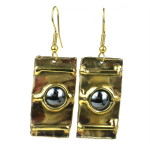 Between the Lines Hematite and Brass Earrings