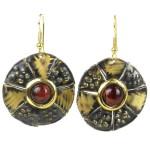 Roulette Red Tiger Eye Brass Earrings
