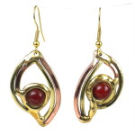 Handcrafted Carnelian Eye Brass Earrings