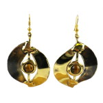 Tiger Eye Almond Brass Earrings