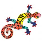 Eight inch Painted Gecko Recycled Haitian Metal Wall Art Multi-Colored Red Tiger