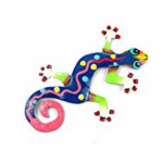 Eight inch Painted Gecko Recycled Haitian Metal Wall Art Blue-Greens Dark Blue Party