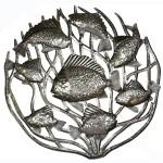 Fish in Coral Metal Wall Art 24-inch Diameter