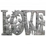 """LOVE Metal Art with Nativity Scene (9"""" x 14"""") - Croix des Bouquets (H)"""