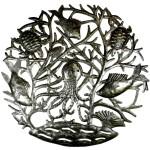 24-inch Octopus in Coral Metal Art