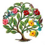 "Hummingbirds and Flowers Painted Haitian Metal Drum Wall Art, 24"""