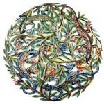 Four Geckos Painted Metal Wall Art - Croix des Bouquets