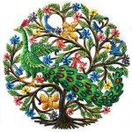 """Peacock in Tree Painted Haitian Metal Drum Wall Art, 24"""""""