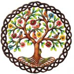 """Rooted Tree of Life in Circle Painted Haitian Metal Drum Wall Art, 24"""""""