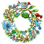 """Door Wreath with Bird Painted Haitian Metal Drum Wall Art, 22"""""""