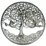 """Curly Tree of Life Ringed Haitian Steel Drum Wall Art, 24"""""""