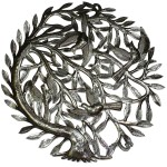 Tree of Life with Curved Trunk Metal Wall Art 24-inch Diameter