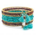 Shanthi Cuff - Turquoise and Wood - Bracelet - Matr Boomie (Jewelry)