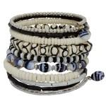 Ten Turn Bead and Bone Bracelet - Black & White