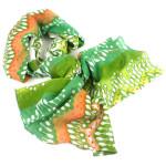 White,Peach and Green Ikat Cotton Scarf - Asha Handicrafts
