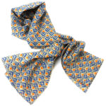 Blue and Orange Geometric Cotton Scarf - Asha Handicrafts