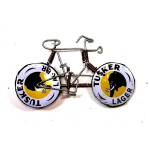 Handmade Wire Bicycle Pin with Tusker Wheels