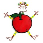 Handmade Dancing Girl Rosy Apple Pin
