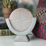 Compass Soapstone Sculpture, Light Gray Stone