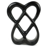 Handcrafted 8-inch Soapstone Connected Hearts Sculpture in Black - Smolart