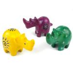 Set of 3 Mini Handcrafted Soapstone Rhino - Smolart