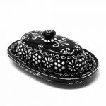 Encantada Handmade Pottery Butter Dish, Ink